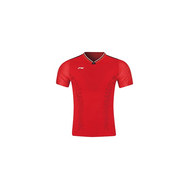 Badminton T-shirt - Red Leopard VM 2019 E