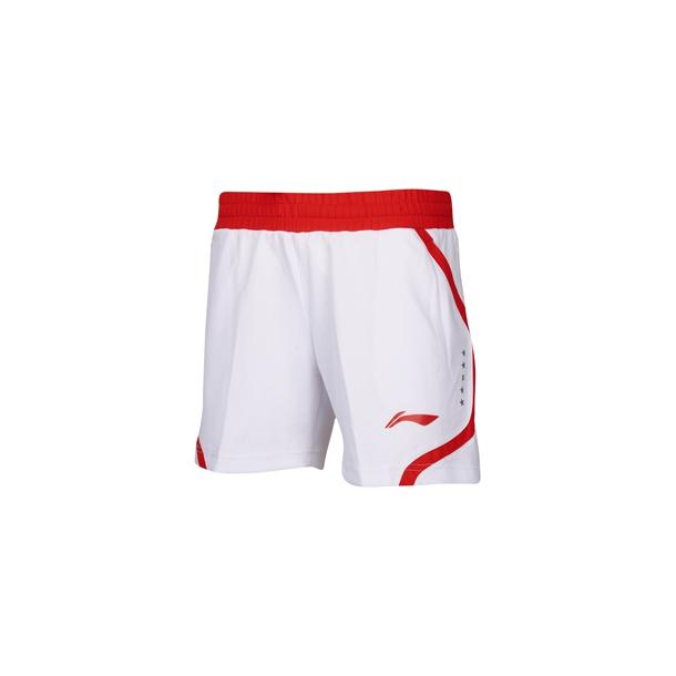 Badminton Shorts - White/Red W 002