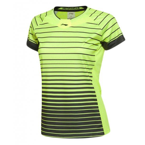 Badminton T-Shirt - Fast Stripes Yellow/Black W 038
