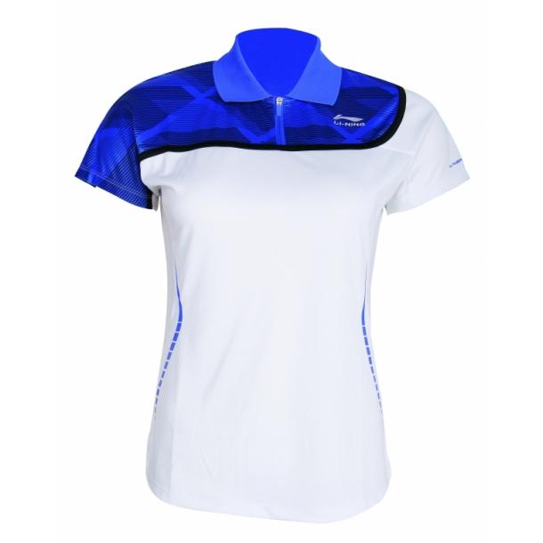 Badminton Polo - White & Blue 014