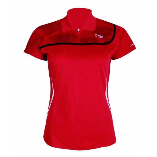 Badminton Polo - Red & Red 014