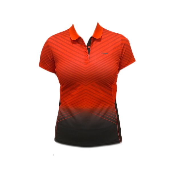 Badminton Polo - V Stripes Red W 134