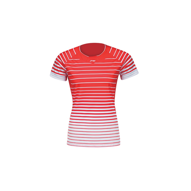 Badminton T-Shirt - Fast Stripes Red/White W 038