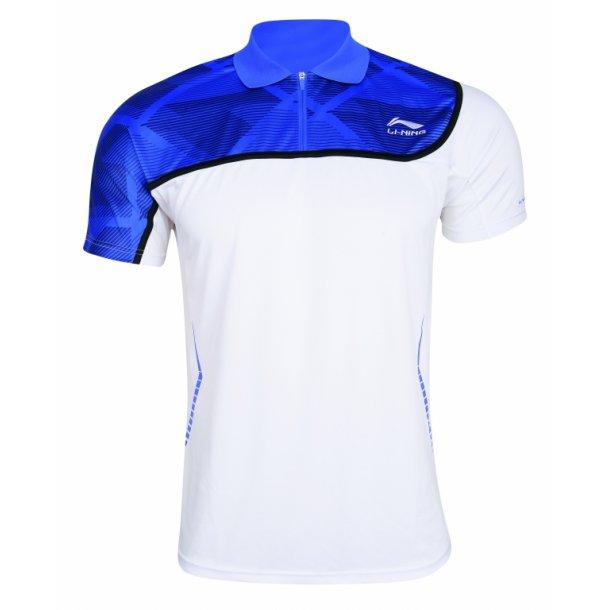 Badminton Polo - White & Blue 049